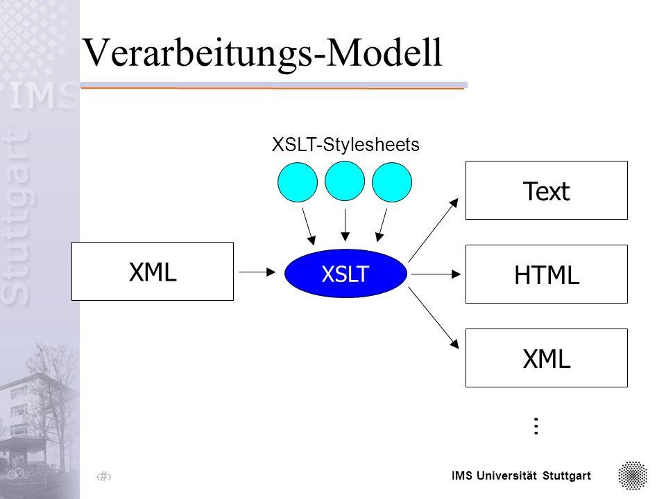 IMS Universität Stuttgart 21 XSL und XSLT XSL (eXtensible Stylesheet Language) XSLT -Konvertierung von XML-Dokumente in andere textbasierte Formate XSLT-Stylesheet -Sammlung von Templates (Transformationsregeln) -sind selbst XML-Dokumente -unterliegen den Restriktionen von XML