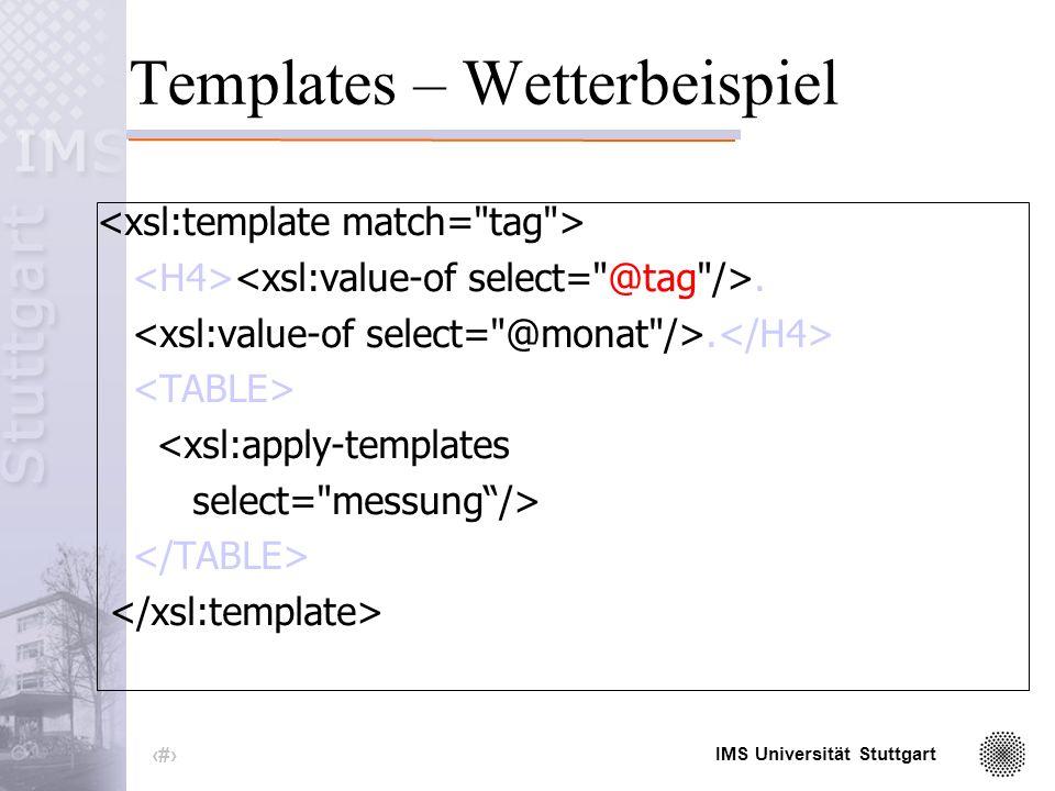 IMS Universität Stuttgart 32 Templates – Wetterbeispiel. <xsl:apply-templates select= messung/>