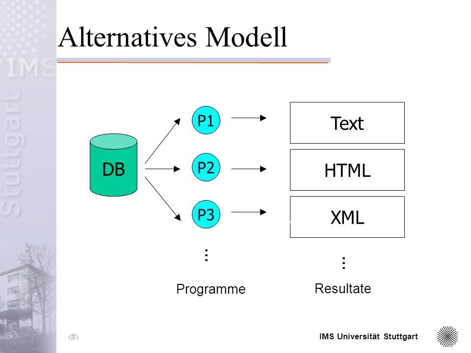 IMS Universität Stuttgart 38 Modell XML+XSLT...