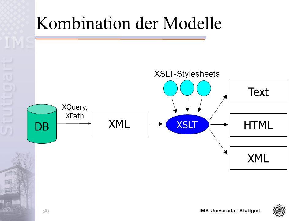 IMS Universität Stuttgart 41 Fazit XML eignet sich zur standardisierten Kodierung beliebiger Daten.