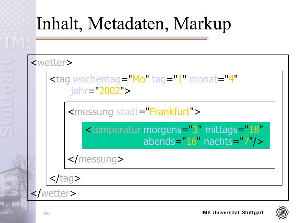 IMS Universität Stuttgart 6 Struktur des XML-Dokuments <temperatur morgens= 3 mittags= 18 abends= 16 nachts= 7 />