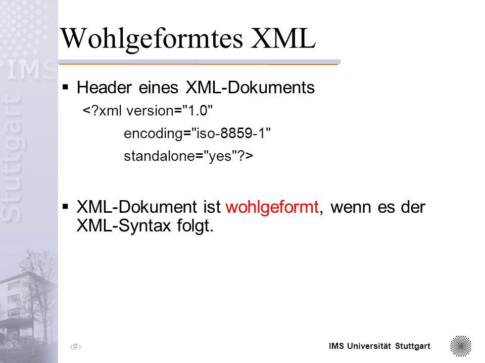 IMS Universität Stuttgart 7 Inhalt, Metadaten, Markup <temperatur morgens= 3 mittags= 18 abends= 16 nachts= 7 />
