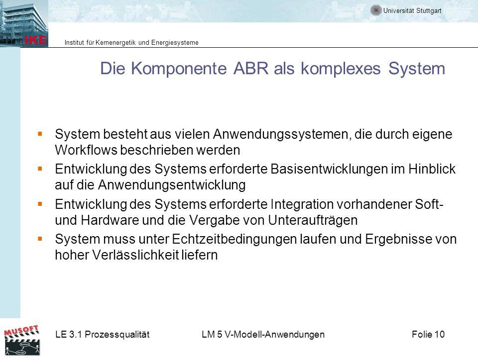 Universität Stuttgart Institut für Kernenergetik und Energiesysteme LE 3.1 ProzessqualitätLM 5 V-Modell-AnwendungenFolie 10 Die Komponente ABR als kom