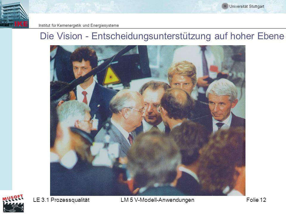 Universität Stuttgart Institut für Kernenergetik und Energiesysteme LE 3.1 ProzessqualitätLM 5 V-Modell-AnwendungenFolie 12 Die Vision - Entscheidungs