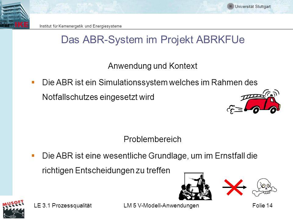Universität Stuttgart Institut für Kernenergetik und Energiesysteme LE 3.1 ProzessqualitätLM 5 V-Modell-AnwendungenFolie 14 Das ABR-System im Projekt