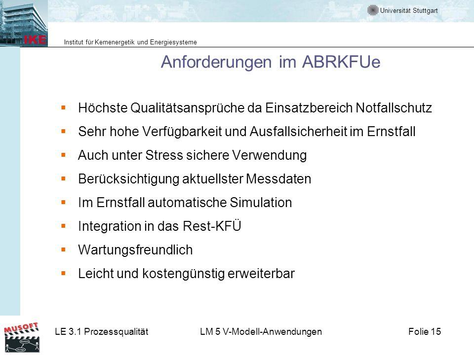 Universität Stuttgart Institut für Kernenergetik und Energiesysteme LE 3.1 ProzessqualitätLM 5 V-Modell-AnwendungenFolie 15 Anforderungen im ABRKFUe H