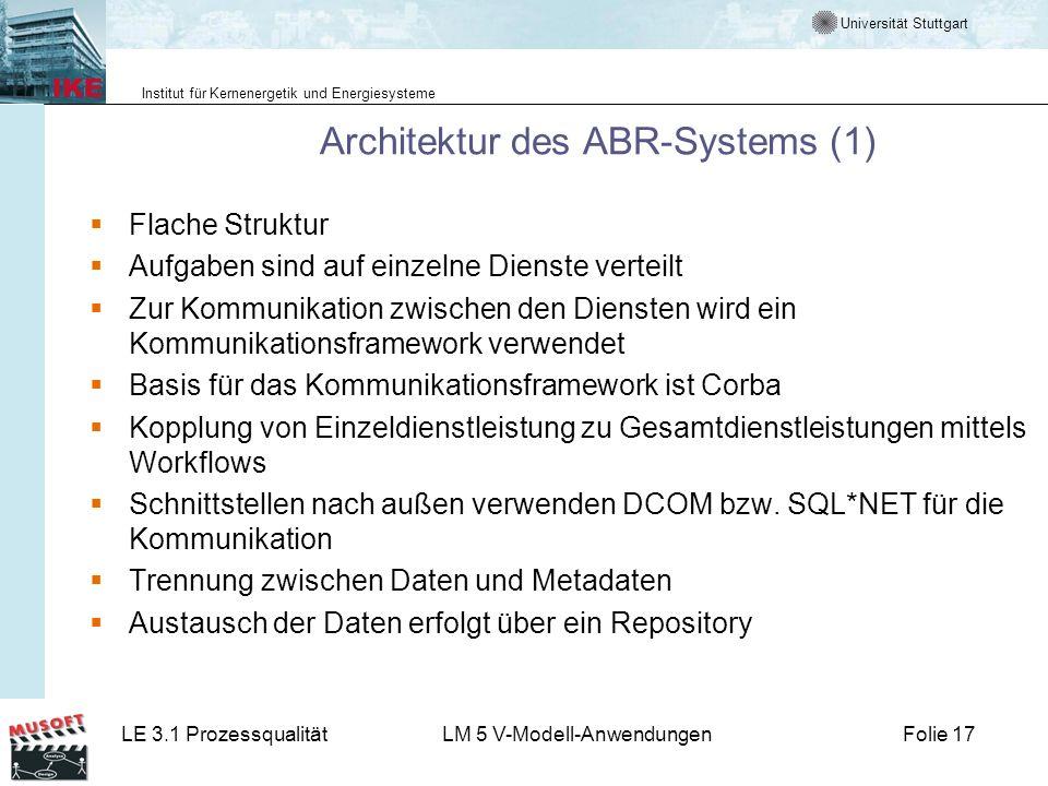 Universität Stuttgart Institut für Kernenergetik und Energiesysteme LE 3.1 ProzessqualitätLM 5 V-Modell-AnwendungenFolie 17 Architektur des ABR-System