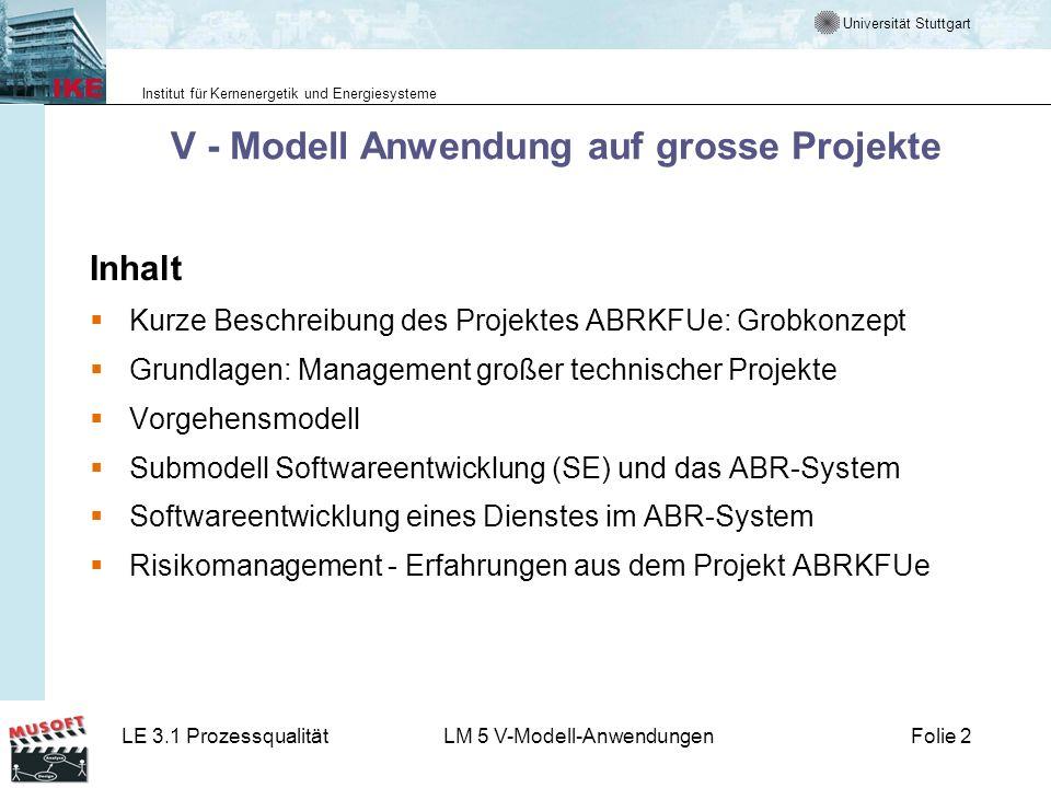 Universität Stuttgart Institut für Kernenergetik und Energiesysteme LE 3.1 ProzessqualitätLM 5 V-Modell-AnwendungenFolie 2 V - Modell Anwendung auf gr