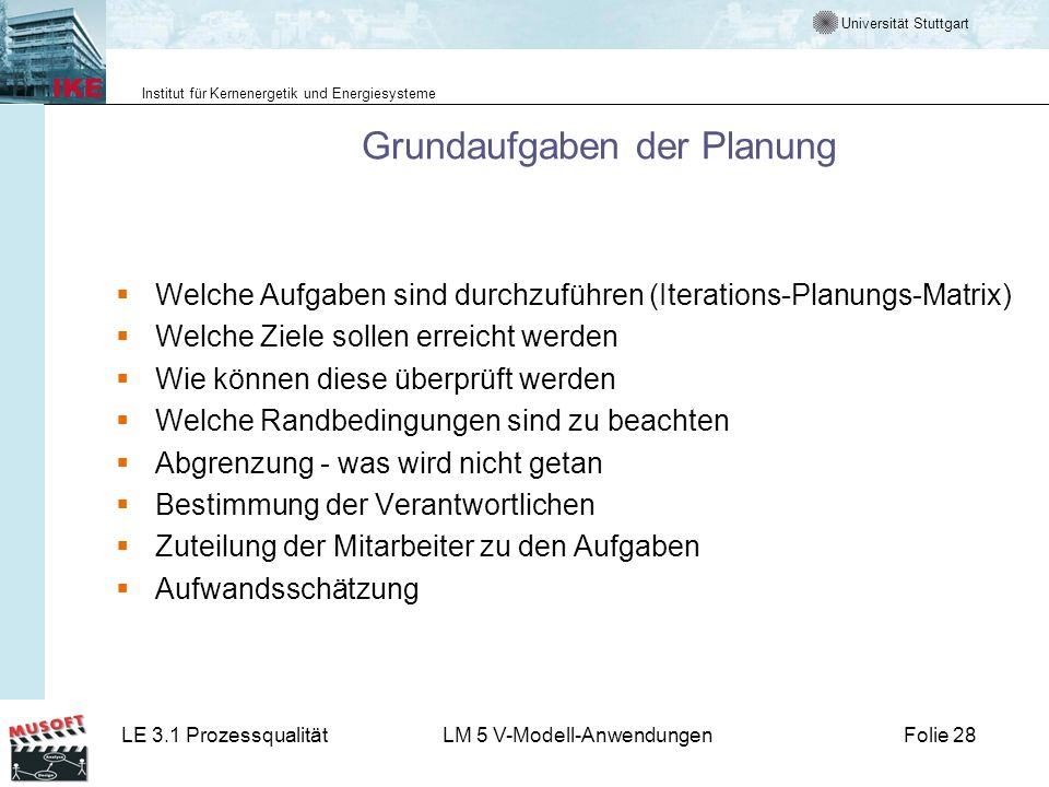 Universität Stuttgart Institut für Kernenergetik und Energiesysteme LE 3.1 ProzessqualitätLM 5 V-Modell-AnwendungenFolie 28 Grundaufgaben der Planung