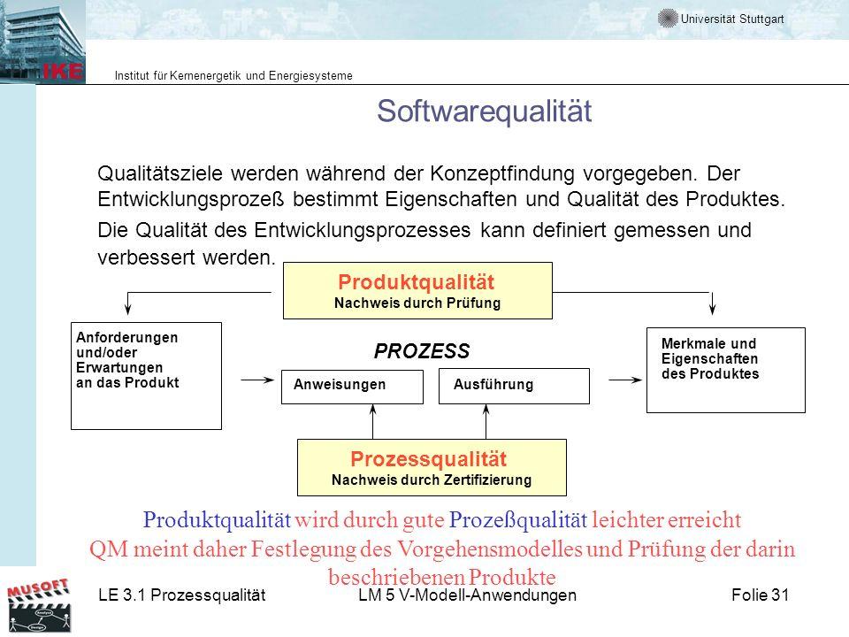 Universität Stuttgart Institut für Kernenergetik und Energiesysteme LE 3.1 ProzessqualitätLM 5 V-Modell-AnwendungenFolie 31 Anforderungen und/oder Erw