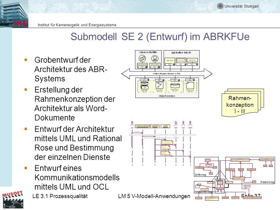 Universität Stuttgart Institut für Kernenergetik und Energiesysteme LE 3.1 ProzessqualitätLM 5 V-Modell-AnwendungenFolie 37 Submodell SE 2 (Entwurf) i