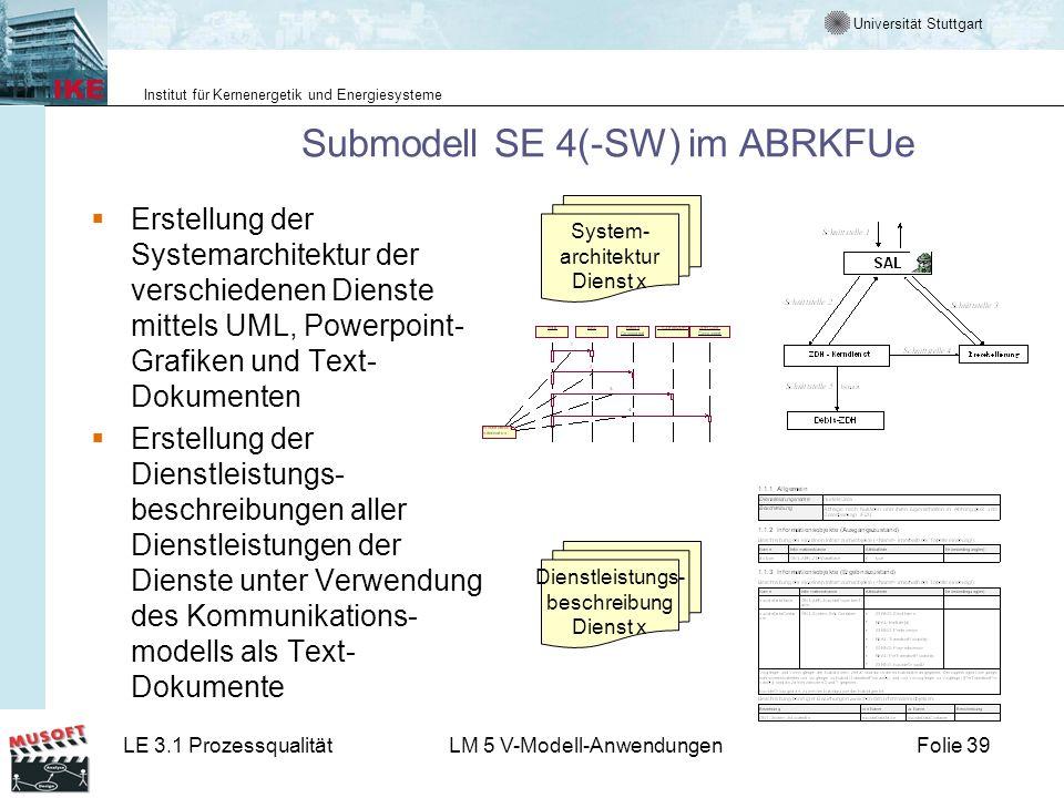 Universität Stuttgart Institut für Kernenergetik und Energiesysteme LE 3.1 ProzessqualitätLM 5 V-Modell-AnwendungenFolie 39 Submodell SE 4(-SW) im ABR