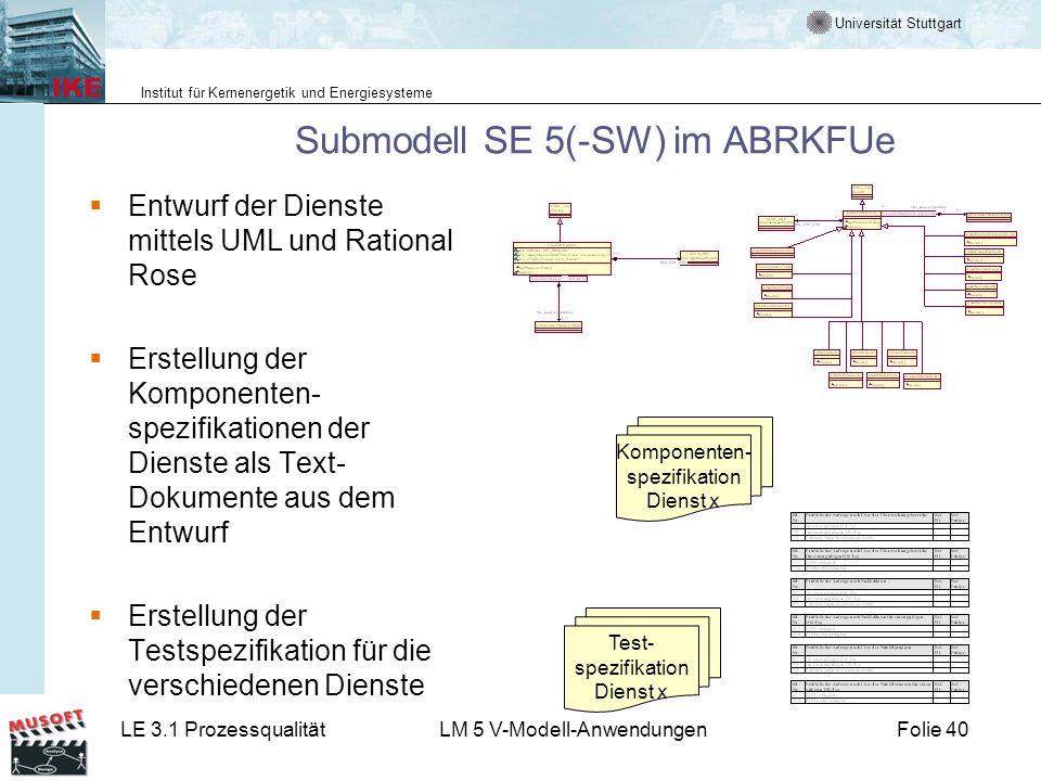 Universität Stuttgart Institut für Kernenergetik und Energiesysteme LE 3.1 ProzessqualitätLM 5 V-Modell-AnwendungenFolie 40 Submodell SE 5(-SW) im ABR