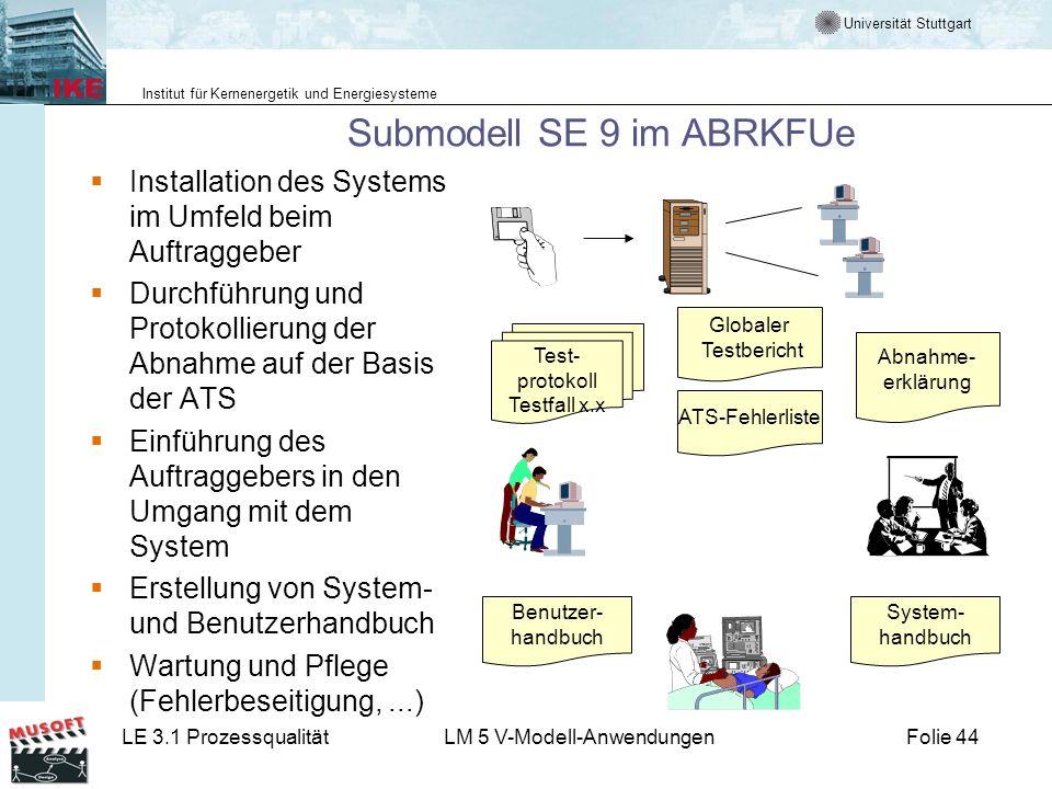 Universität Stuttgart Institut für Kernenergetik und Energiesysteme LE 3.1 ProzessqualitätLM 5 V-Modell-AnwendungenFolie 44 Submodell SE 9 im ABRKFUe