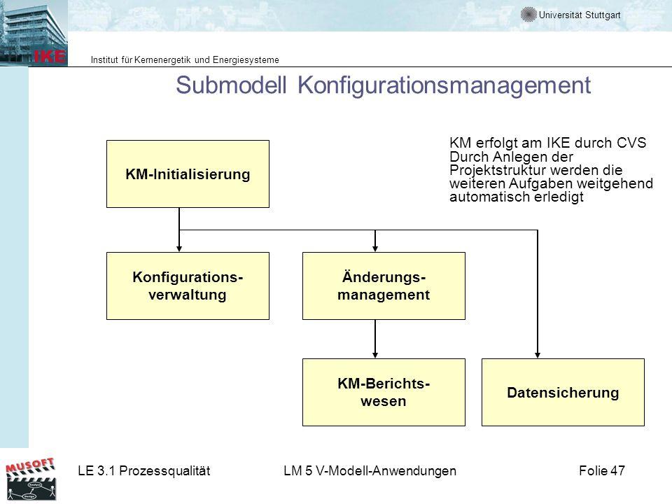 Universität Stuttgart Institut für Kernenergetik und Energiesysteme LE 3.1 ProzessqualitätLM 5 V-Modell-AnwendungenFolie 47 Submodell Konfigurationsma