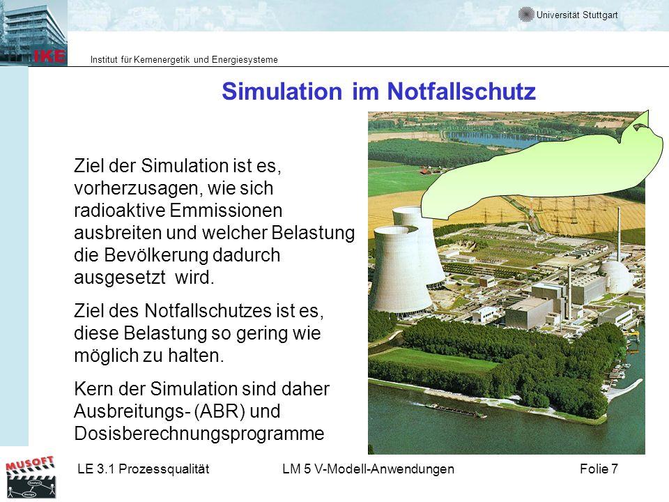Universität Stuttgart Institut für Kernenergetik und Energiesysteme LE 3.1 ProzessqualitätLM 5 V-Modell-AnwendungenFolie 7 Simulation im Notfallschutz