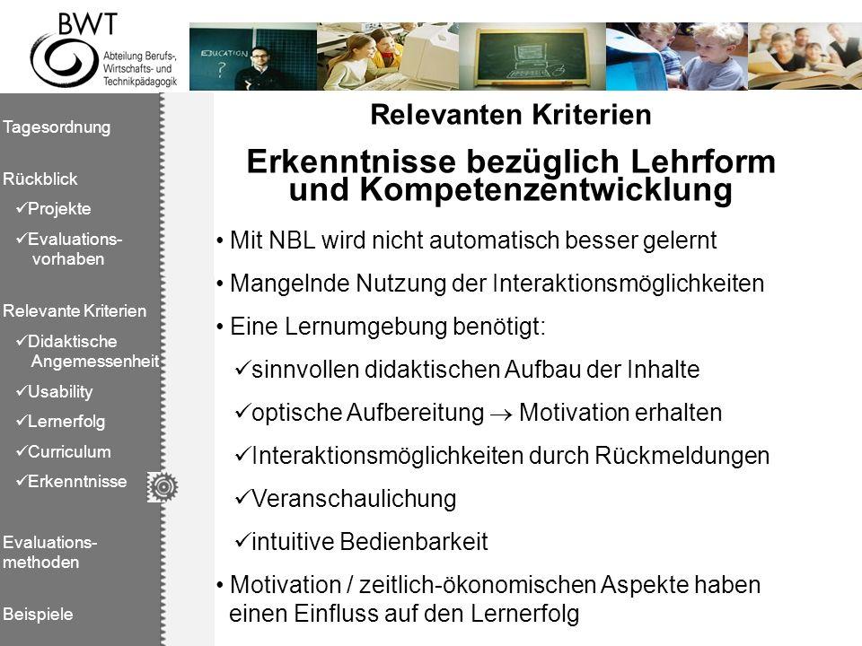 Tagesordnung Rückblick Projekte Evaluations- vorhaben Relevante Kriterien Didaktische Angemessenheit Usability Lernerfolg Curriculum Erkenntnisse Eval