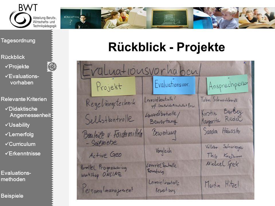 Rückblick - Projekte Tagesordnung Rückblick Projekte Evaluations- vorhaben Relevante Kriterien Didaktische Angemessenheit Usability Lernerfolg Curricu