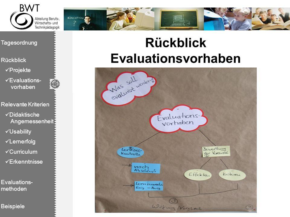 Rückblick Evaluationsvorhaben Tagesordnung Rückblick Projekte Evaluations- vorhaben Relevante Kriterien Didaktische Angemessenheit Usability Lernerfol