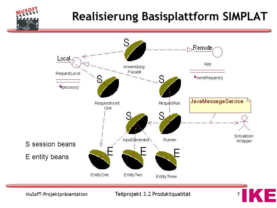 MuSofT-Projektpräsentation Teilprojekt 3.2 Produktqualität 7 Realisierung Basisplattform SIMPLAT S session beans E entity beans