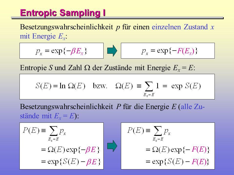 Besetzungswahrscheinlichkeit p für einen einzelnen Zustand x mit Energie E x : Entropic Sampling I Besetzungswahrscheinlichkeit P für die Energie E (a