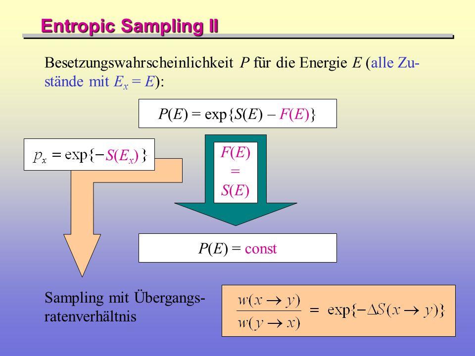 Entropic Sampling II Besetzungswahrscheinlichkeit P für die Energie E (alle Zu- stände mit E x = E): P(E) = exp{S(E) – F(E)} P(E) = const F(E)=S(E)F(E