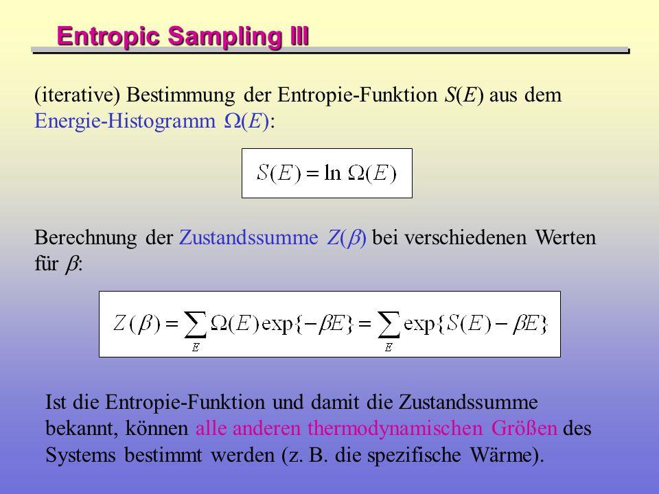 Entropic Sampling III (iterative) Bestimmung der Entropie-Funktion S(E) aus dem Energie-Histogramm (E): Berechnung der Zustandssumme Z( ) bei verschie