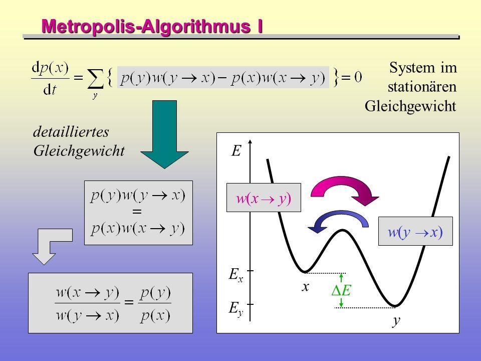 Metropolis-Algorithmus II Besetzungswahrscheinlichkeit im kanonischen Ensemble (Boltzmann-Statistik) Sprungwahrscheinlichkeit (Sprungrate) für einen Prozess mit Energieaufwand E: Mittelwertberechnung: