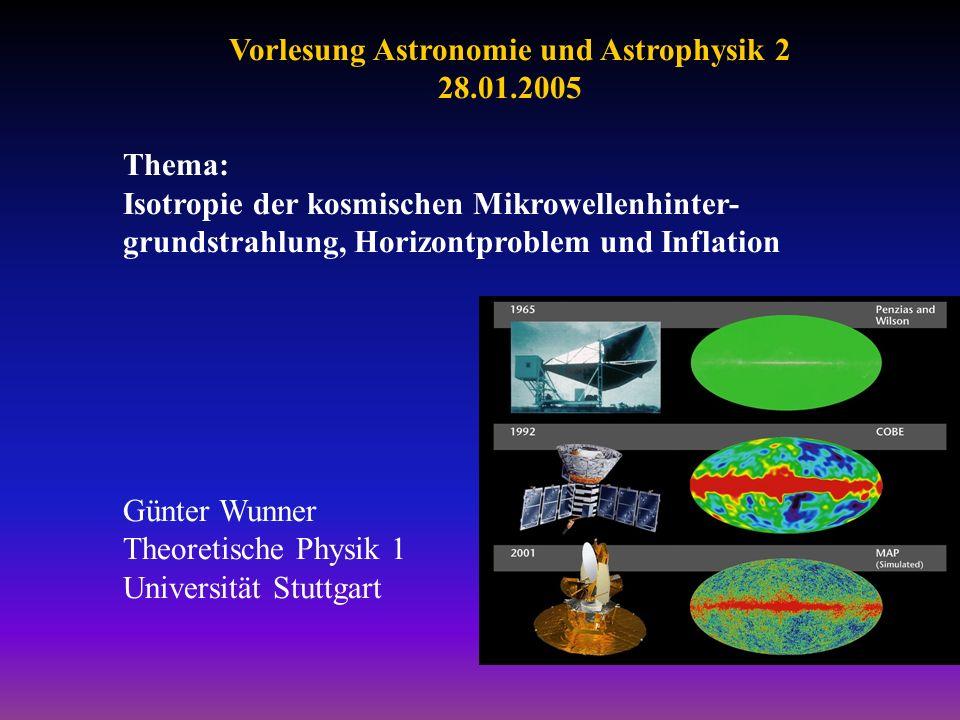 Vorlesung Astronomie und Astrophysik 2 28.01.2005 Thema: Isotropie der kosmischen Mikrowellenhinter- grundstrahlung, Horizontproblem und Inflation Gün