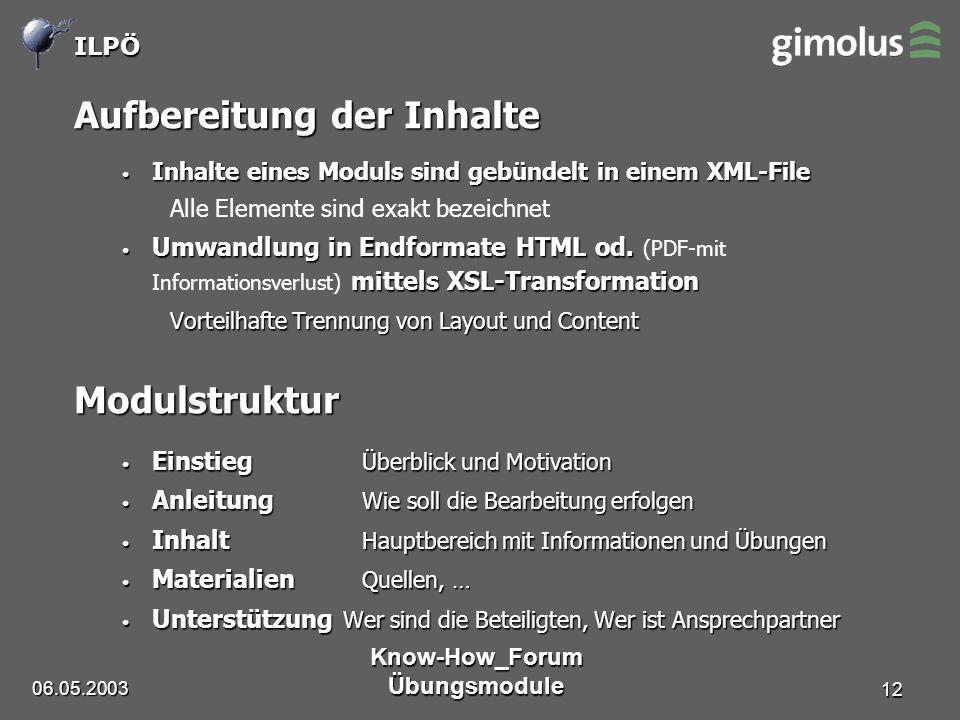 ILPÖ 06.05.2003 Know-How_Forum Übungsmodule 12 Aufbereitung der Inhalte Inhalte eines Moduls sind gebündelt in einem XML-File Inhalte eines Moduls sind gebündelt in einem XML-File Alle Elemente sind exakt bezeichnet Umwandlung in Endformate HTML od.
