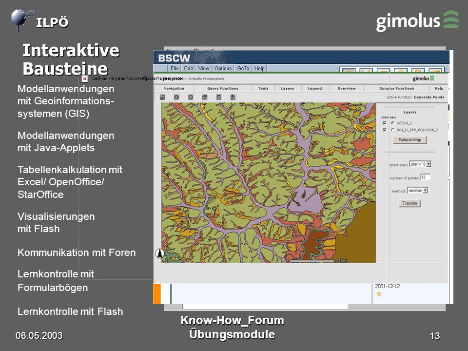 ILPÖ 06.05.2003 Know-How_Forum Übungsmodule 13 Interaktive Bausteine Lernkontrolle mit Flash Lernkontrolle mit Formularbögen Tabellenkalkulation mit Excel/ OpenOffice/ StarOffice Visualisierungen mit Flash Modellanwendungen mit Geoinformations- systemen (GIS) Modellanwendungen mit Java-Applets Kommunikation mit Foren