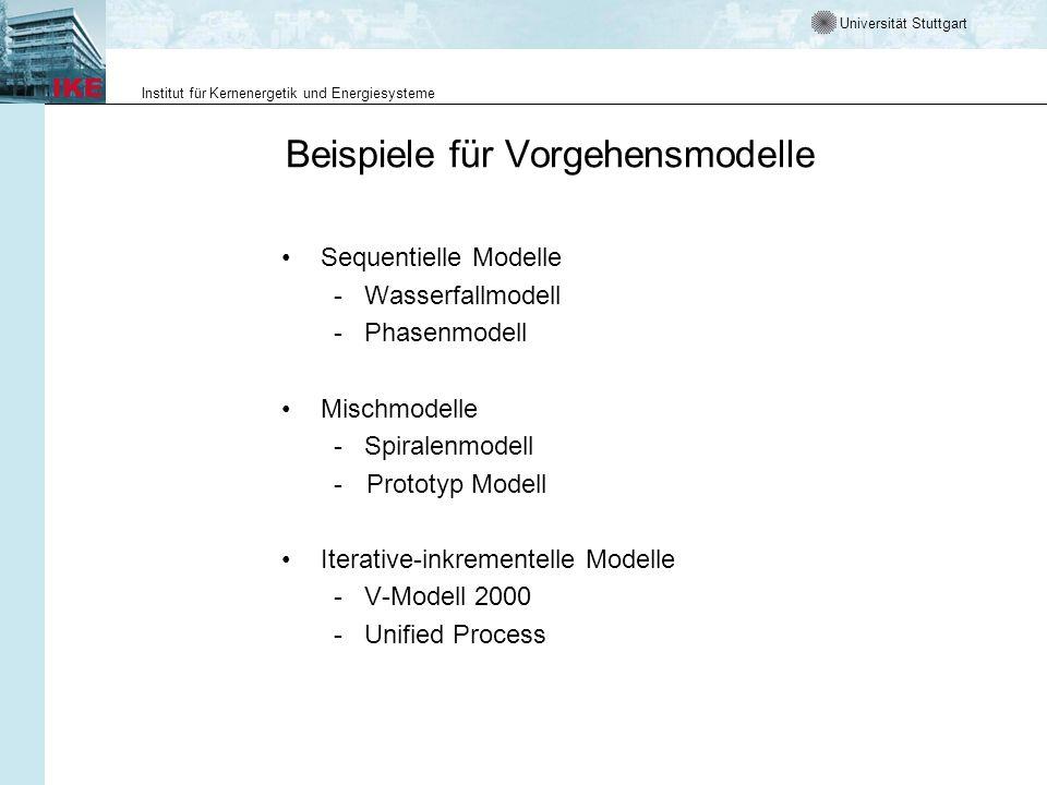 Universität Stuttgart Institut für Kernenergetik und Energiesysteme Beispiele für Vorgehensmodelle Sequentielle Modelle - Wasserfallmodell - Phasenmodell Mischmodelle - Spiralenmodell -Prototyp Modell Iterative-inkrementelle Modelle - V-Modell 2000 - Unified Process