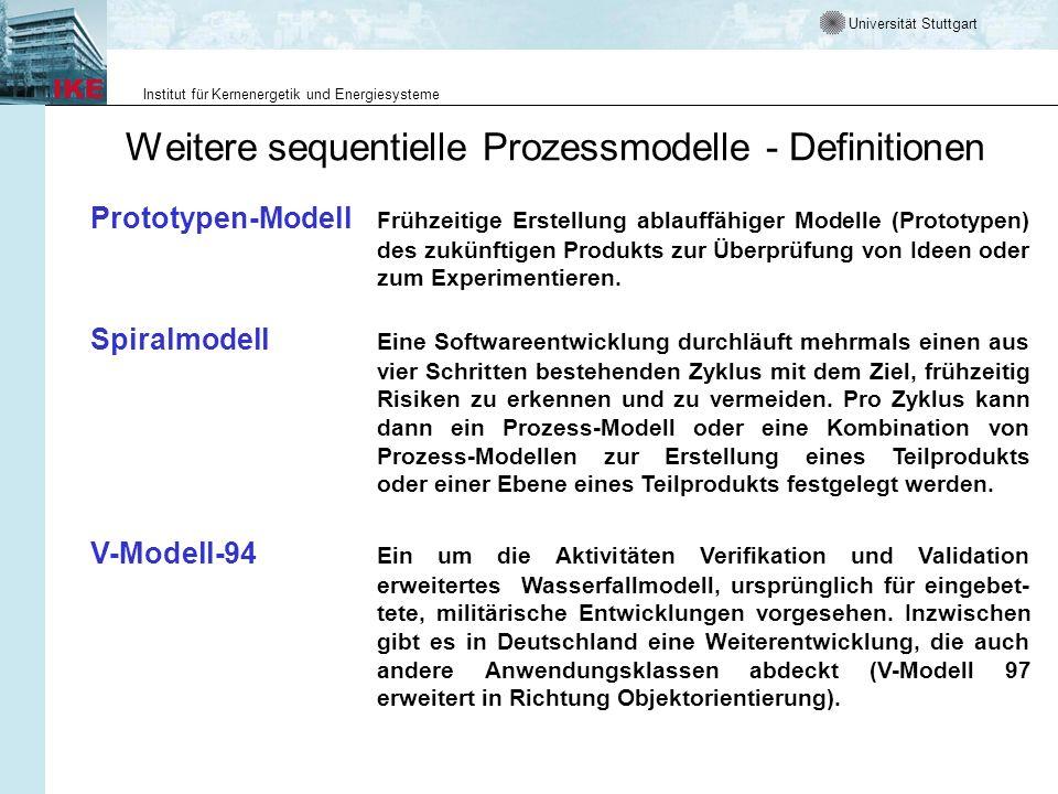 Universität Stuttgart Institut für Kernenergetik und Energiesysteme Weitere sequentielle Prozessmodelle - Definitionen Spiralmodell Eine Softwareentwi