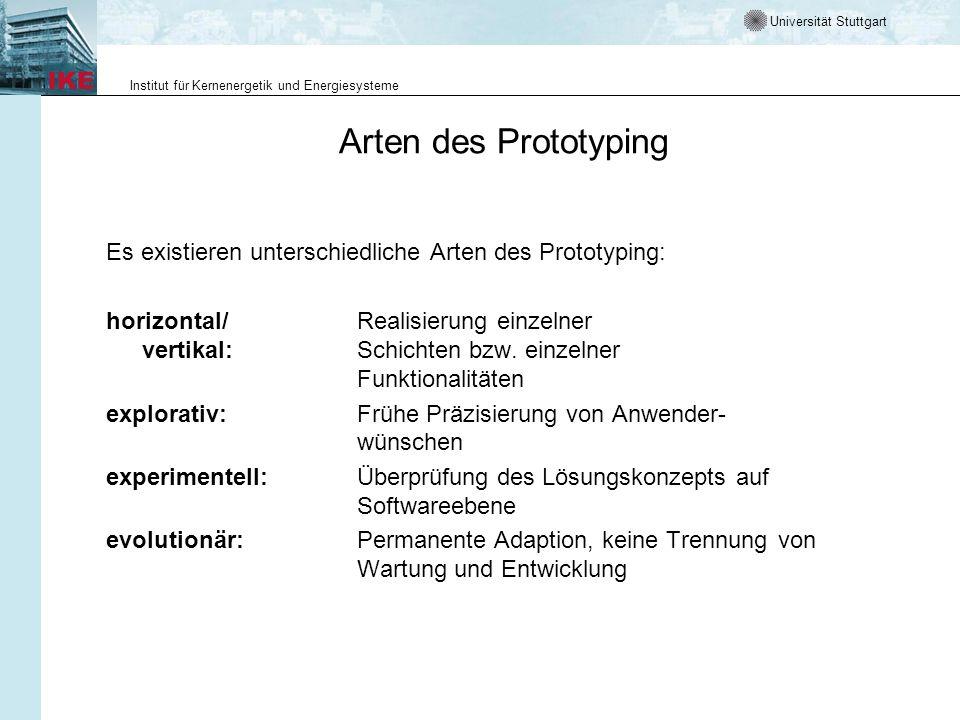 Universität Stuttgart Institut für Kernenergetik und Energiesysteme Arten des Prototyping Es existieren unterschiedliche Arten des Prototyping: horizontal/Realisierung einzelner vertikal: Schichten bzw.