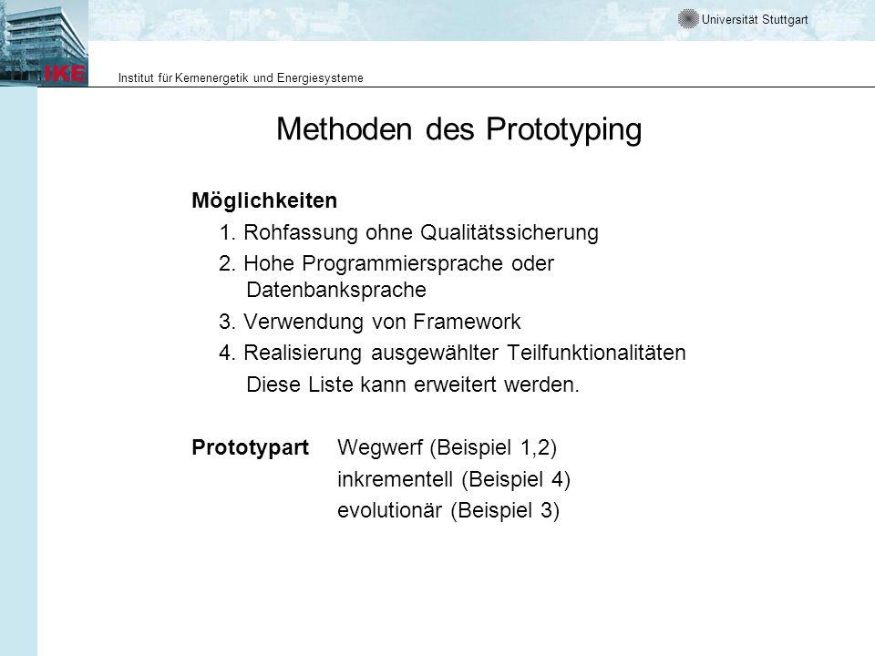 Universität Stuttgart Institut für Kernenergetik und Energiesysteme Methoden des Prototyping Möglichkeiten 1. Rohfassung ohne Qualitätssicherung 2. Ho