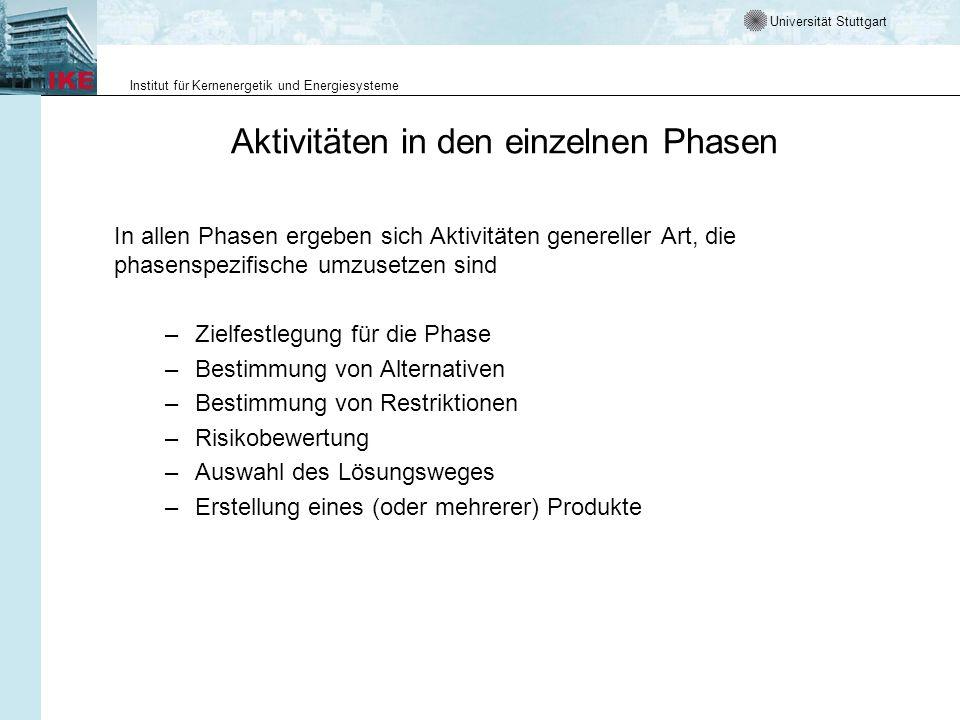 Universität Stuttgart Institut für Kernenergetik und Energiesysteme Aktivitäten in den einzelnen Phasen In allen Phasen ergeben sich Aktivitäten gener