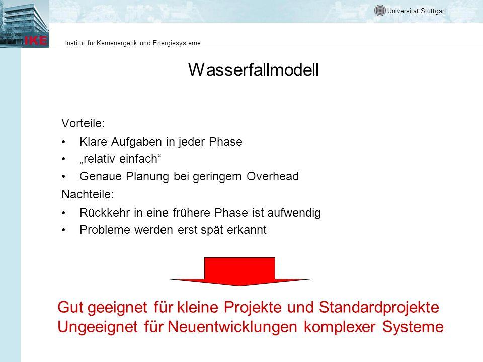 Universität Stuttgart Institut für Kernenergetik und Energiesysteme Weitere sequentielle Prozessmodelle - Definitionen Spiralmodell Eine Softwareentwicklung durchläuft mehrmals einen aus vier Schritten bestehenden Zyklus mit dem Ziel, frühzeitig Risiken zu erkennen und zu vermeiden.