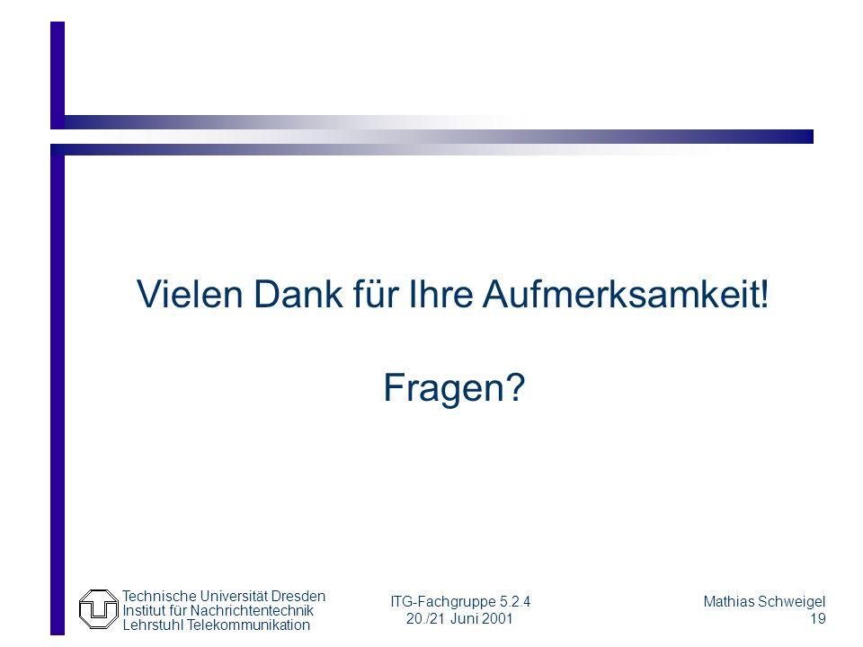 Technische Universität Dresden Institut für Nachrichtentechnik Lehrstuhl Telekommunikation Mathias Schweigel 19 ITG-Fachgruppe 5.2.4 20./21 Juni 2001 Fragen.