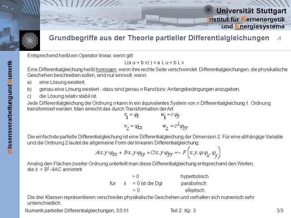 Universität Stuttgart Wissensverarbeitung und Numerik I nstitut für K ernenergetik und E nergiesysteme Numerik partieller Differentialgleichungen, SS 01Teil 2: Kp.