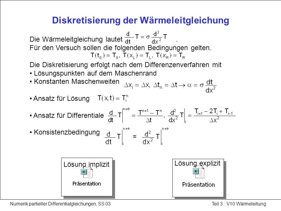 Numerik partieller Differentialgleichungen, SS 03 Teil 3 : V10 Wärmeleitung Lösung der Wärmeleitgleichung nach dem expliziten Verfahren 1/2 Beim expliziten Verfahren erfolgt der Ansatz für die Diskretisierung am Zeitpunkt.
