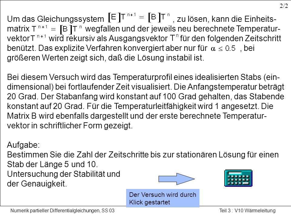 Numerik partieller Differentialgleichungen, SS 03 Teil 3 : V10 Wärmeleitung Lösung der Wärmeleitgleichung nach dem impliziten Verfahren Beim impliziten Verfahren erfolgt der Ansatz für die Diskretisierung am Zeitpunkt.