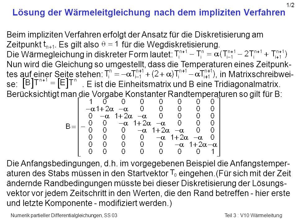 Numerik partieller Differentialgleichungen, SS 03 Teil 3 : V10 Wärmeleitung Lösung der Wärmeleitgleichung nach dem impliziten Verfahren Beim implizite