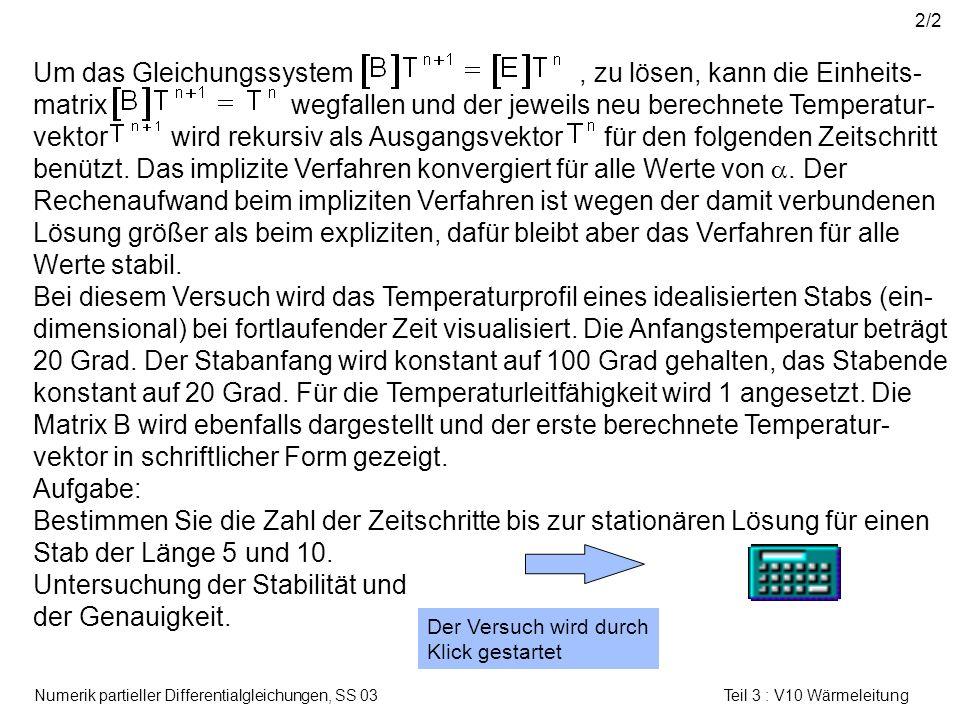 Numerik partieller Differentialgleichungen, SS 03 Teil 3 : V10 Wärmeleitung 2/2 Der Versuch wird durch Klick gestartet Um das Gleichungssystem, zu lös