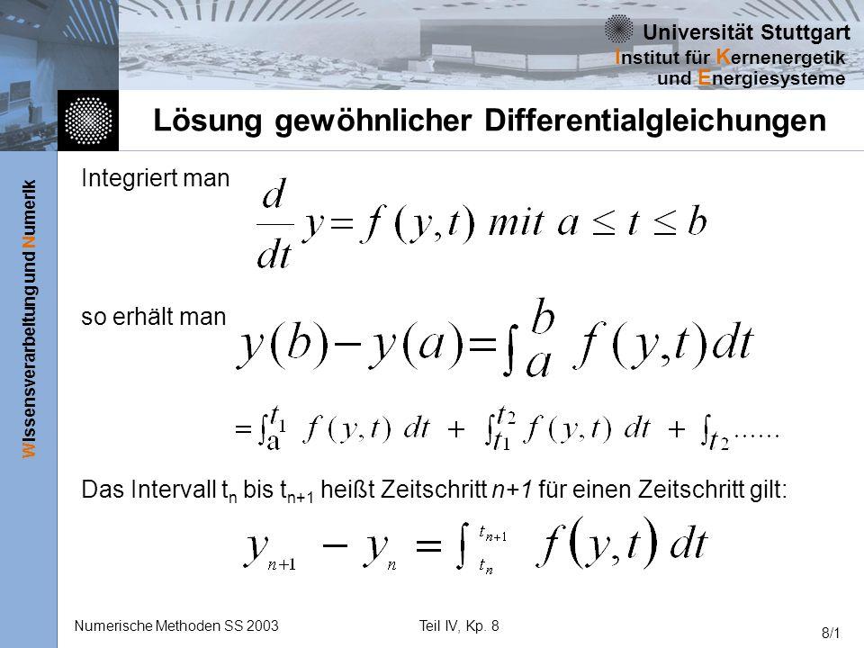 Universität Stuttgart Wissensverarbeitung und Numerik I nstitut für K ernenergetik und E nergiesysteme Numerische Methoden SS 2003Teil IV, Kp. 8 8/1 L