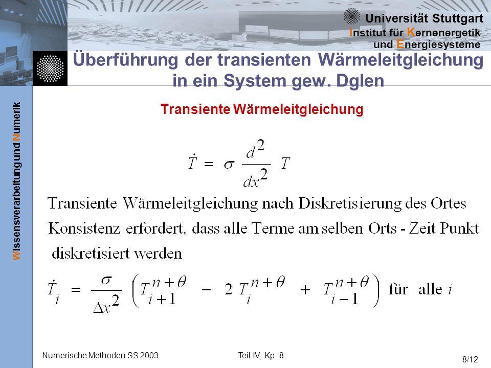 Universität Stuttgart Wissensverarbeitung und Numerik I nstitut für K ernenergetik und E nergiesysteme Numerische Methoden SS 2003Teil IV, Kp. 8 8/12