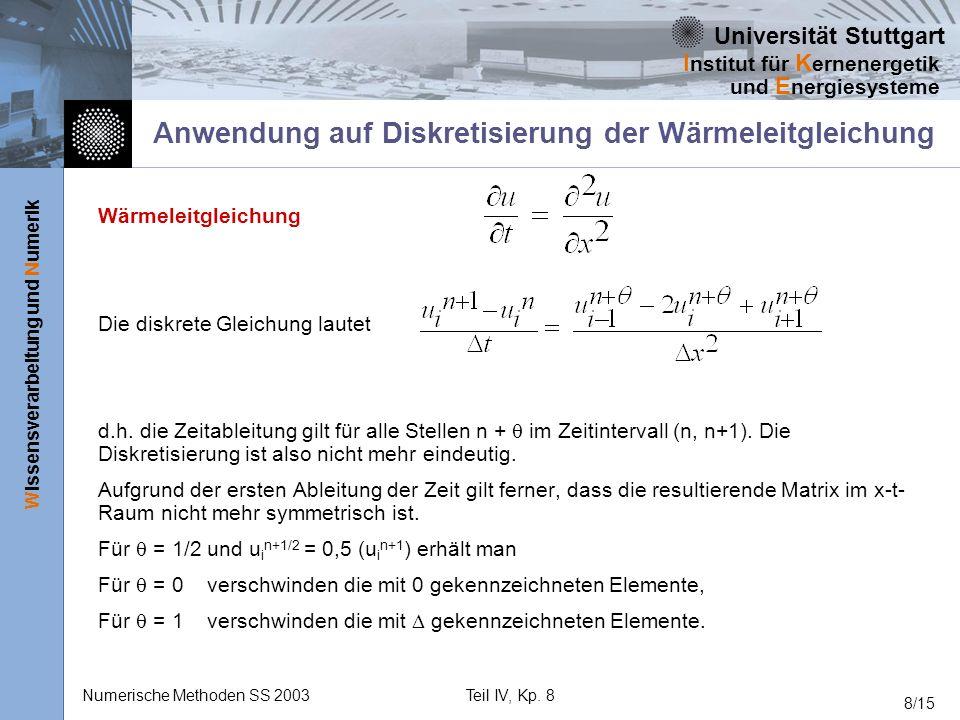 Universität Stuttgart Wissensverarbeitung und Numerik I nstitut für K ernenergetik und E nergiesysteme Numerische Methoden SS 2003Teil IV, Kp. 8 8/15