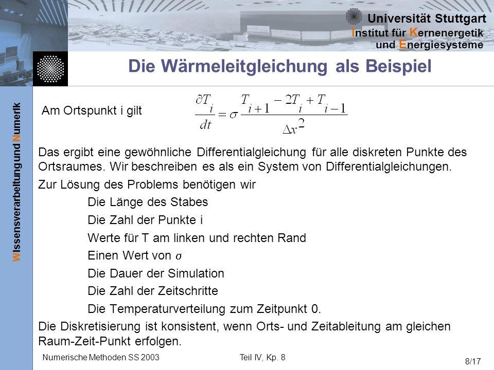 Universität Stuttgart Wissensverarbeitung und Numerik I nstitut für K ernenergetik und E nergiesysteme Numerische Methoden SS 2003Teil IV, Kp. 8 8/17
