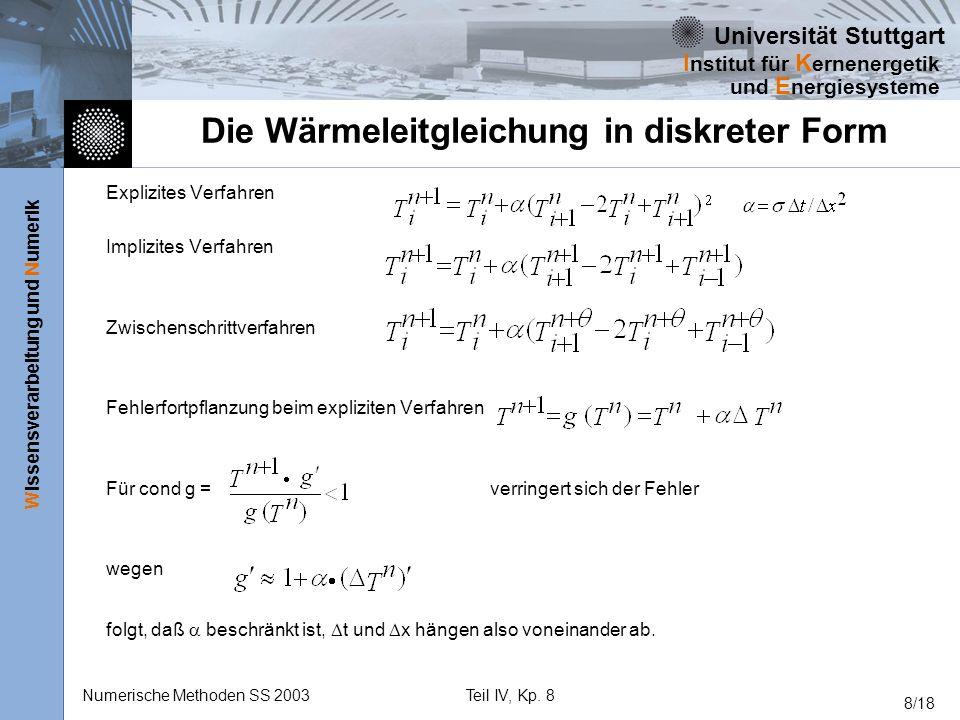 Universität Stuttgart Wissensverarbeitung und Numerik I nstitut für K ernenergetik und E nergiesysteme Numerische Methoden SS 2003Teil IV, Kp. 8 8/18