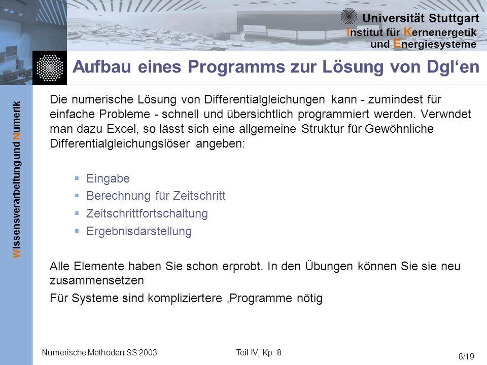 Universität Stuttgart Wissensverarbeitung und Numerik I nstitut für K ernenergetik und E nergiesysteme Numerische Methoden SS 2003Teil IV, Kp. 8 8/19