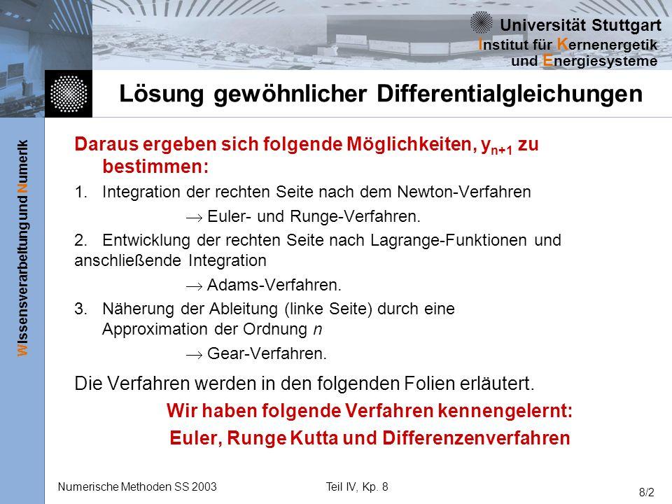 Universität Stuttgart Wissensverarbeitung und Numerik I nstitut für K ernenergetik und E nergiesysteme Numerische Methoden SS 2003Teil IV, Kp.